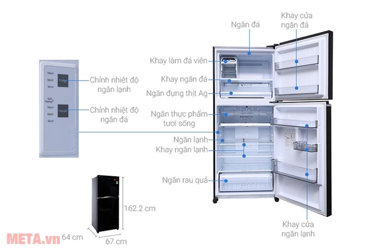Cấu tạo tủ lạnh 2 cánh