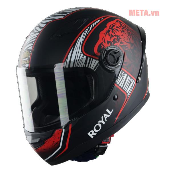 Mũ bảo hiểm Royal M136B tem màu đỏ
