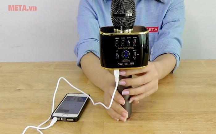 Nghe nhạc qua jack 3.5mm với micro Magic Sing MP-30