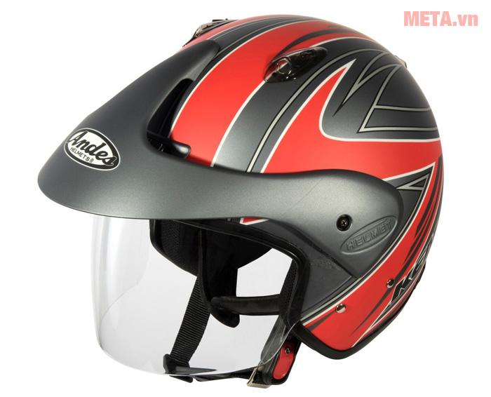 Mũ bảo hiểm 3/4 Andes 3S-306E tem nhám (Size 57~59 cm)