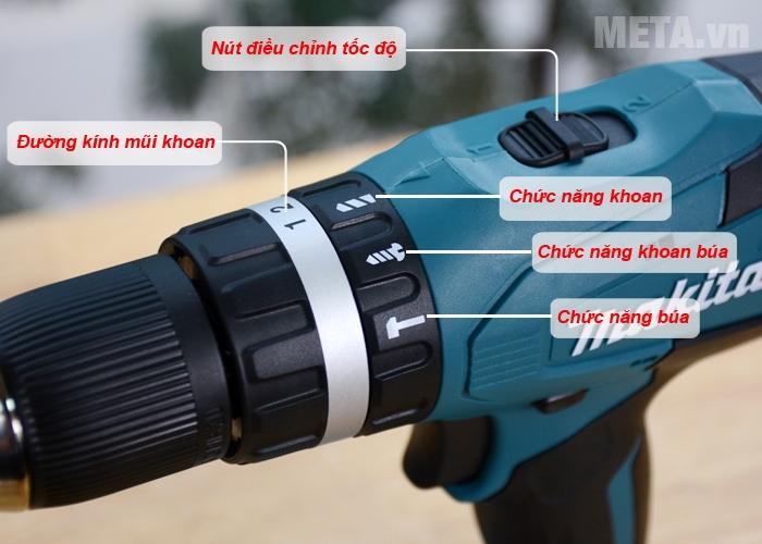 Các chức năng của máy khoan Makita HP457DWE