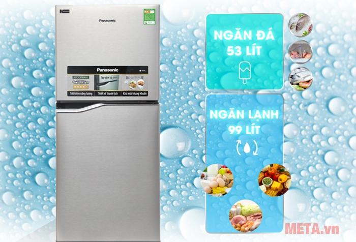 Tủ lạnh Panasonic có dung tích 152L