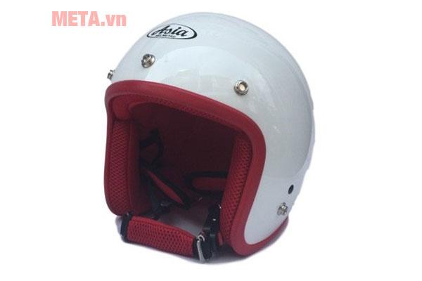 Mũ bảo hiểm 3/4 trắng viền đỏ