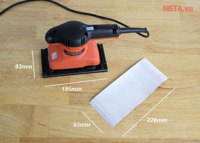 Kích thước đế chà và giấy nhám