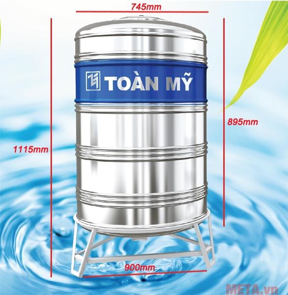 Bồn nước inox đứng Toàn Mỹ 1000L (F950)