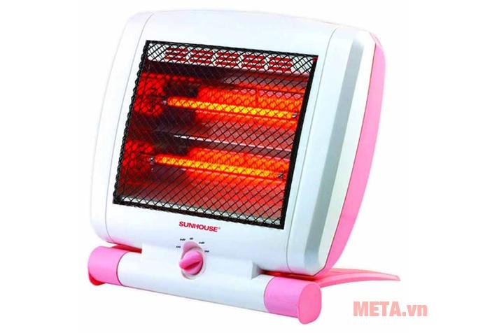 Sưởi điện 2 bóng Halogen Sunhouse SHD7010 màu hồng