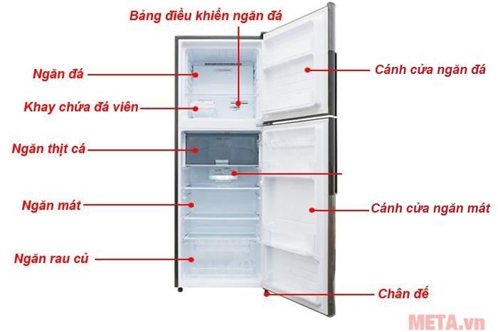 Cấu tạo tủ lạnh Sharp Inverter SJ-X316E-DS