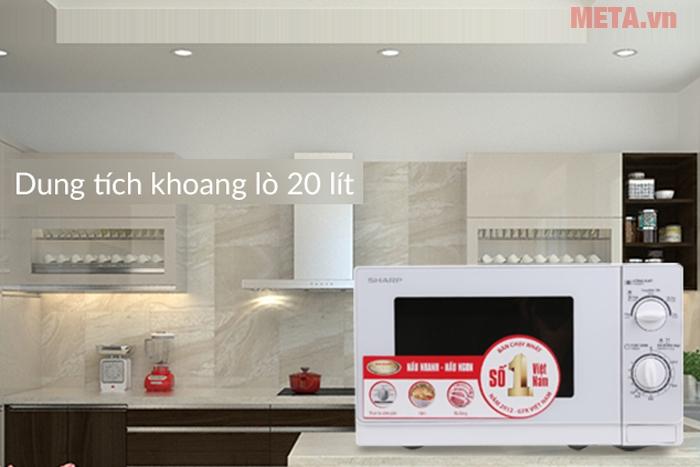 Lò vi sóng Sharp R-201VN-W thiết kế sang trọng phù hợp với không gian bếp