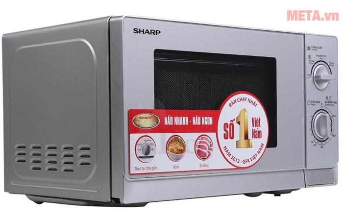 Lò vi sóng cơ Sharp R-204VN-S có núm điều chỉnh cơ dễ dàng sử dụng
