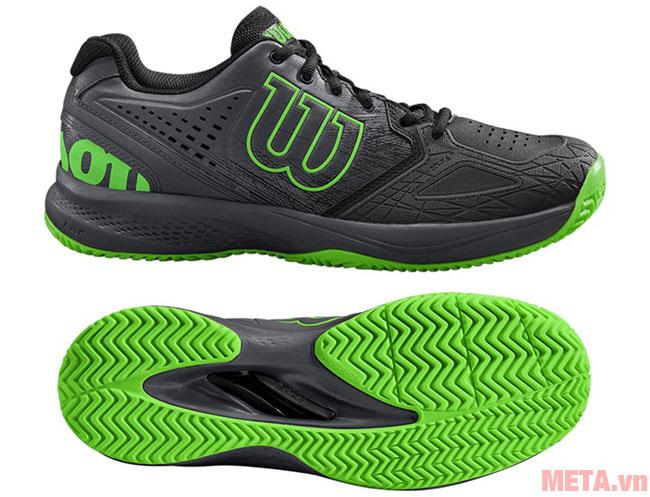 Hình ảnh giày Tennis Wilson Kaos Comp 2.0 Black/Ebony/Green WRS324830