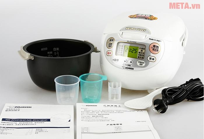 Trọn bộ sản phẩm nồi cơm điện Zojirushi NS-ZAQ18-WZ