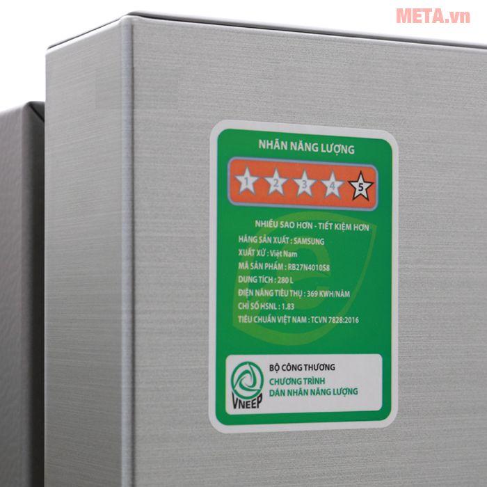 Tủ lạnh Samsung RB27N4010S8/SV có thiết kế sang trọng