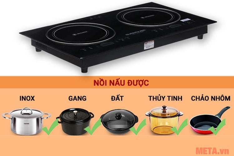 Bạn có thể sử dụng mọi loại nồi với bếp