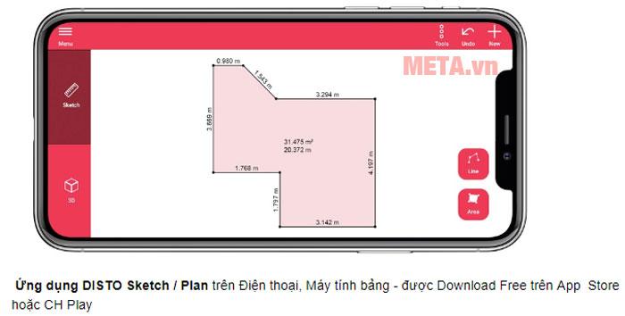 Leica DISTO X3 có khả năng kết nối với ứng dụng Disto Sketch/Plan