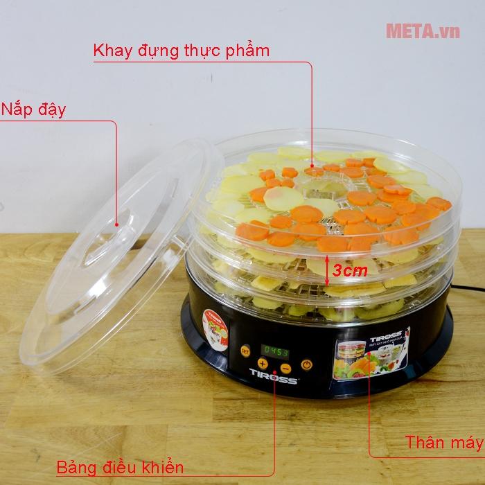 Cấu tạo máy sấy hoa quả, thực phẩm đa năng Tiross TS9682