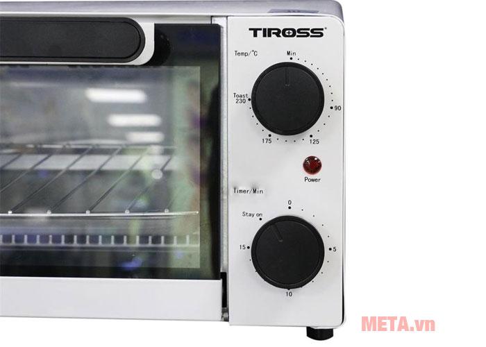 Lò nướng điện halogen Tiross TS9601 sử dụng đơn giản với núm vặn điều khiển cơ