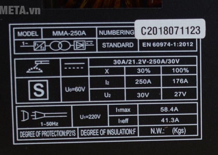 Thông số Máy hàn