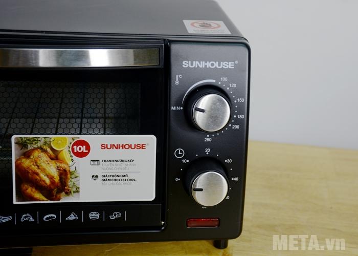 Lò nướng điện Sunhouse SHD4210 có núm điều chỉnh cơ