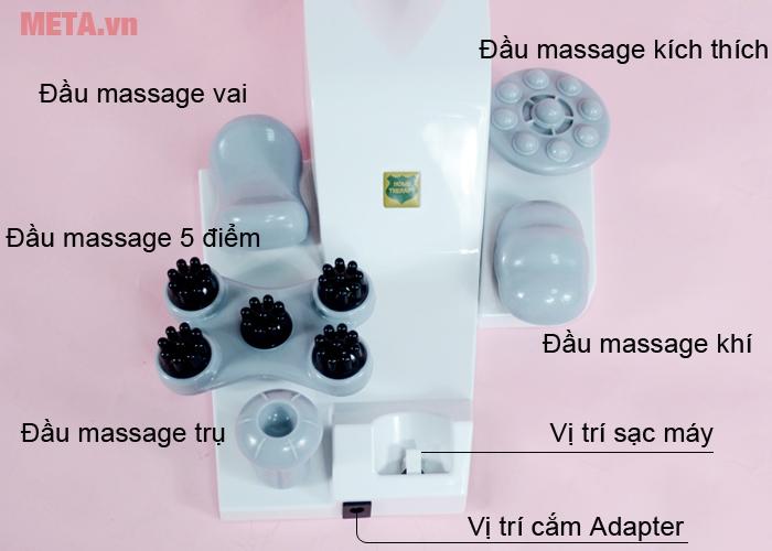Các đầu massage của máy massage Welbutech Kangaroo K-5000E