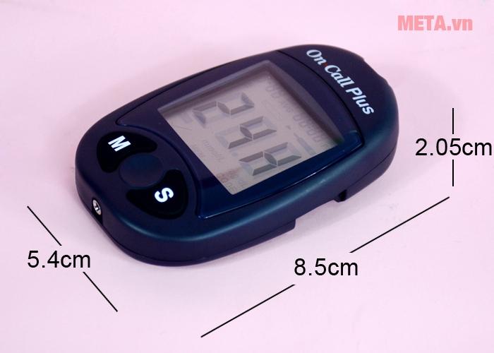 Kích thước máy đo đường huyết On Call Plus