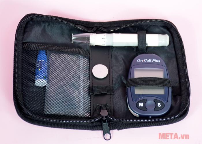 Máy đo đường huyết On Call Plus đi kèm túi đựng tiện dụng