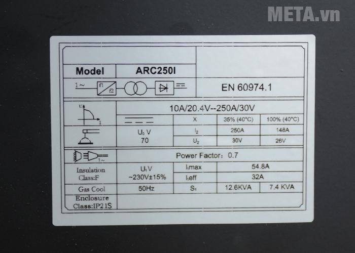 Thông số của máy hàn que Jasic ARC-250I