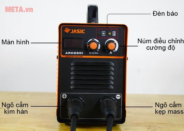 Máy hàn que Jasic ARC-250I thiết kế cực âm, cực dương để kết nối dây mass và kìm hàn