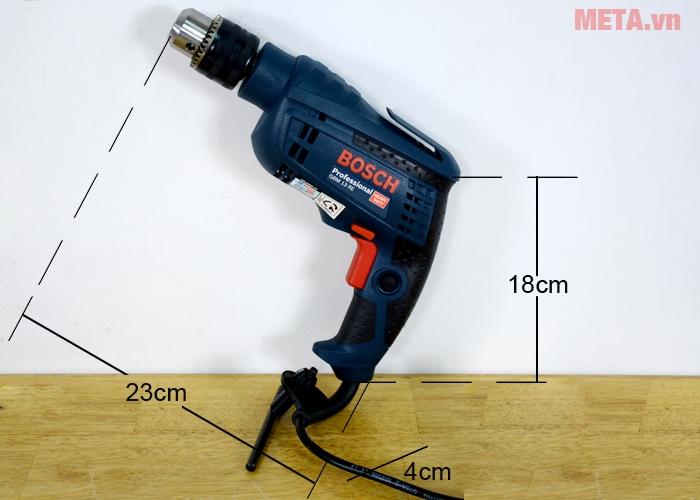Kích thước máy khoan Bosch GBM 13 RE