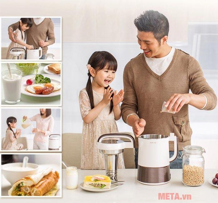 Máy làm sữa đậu nành Joyoung DJ13C-Q3 thích hợp sử dụng cho gia đình.