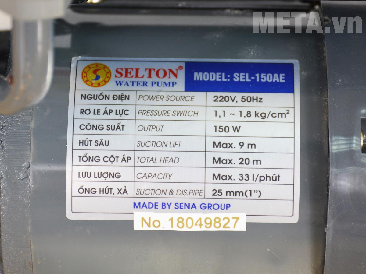 Thông số Máy bơm nước