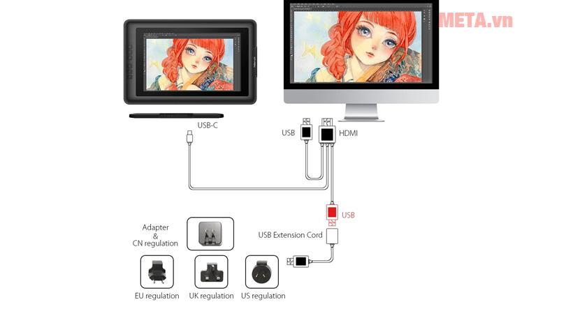 XP-Pen Artist 13.3 kết nối với máy tính qua cổng USB