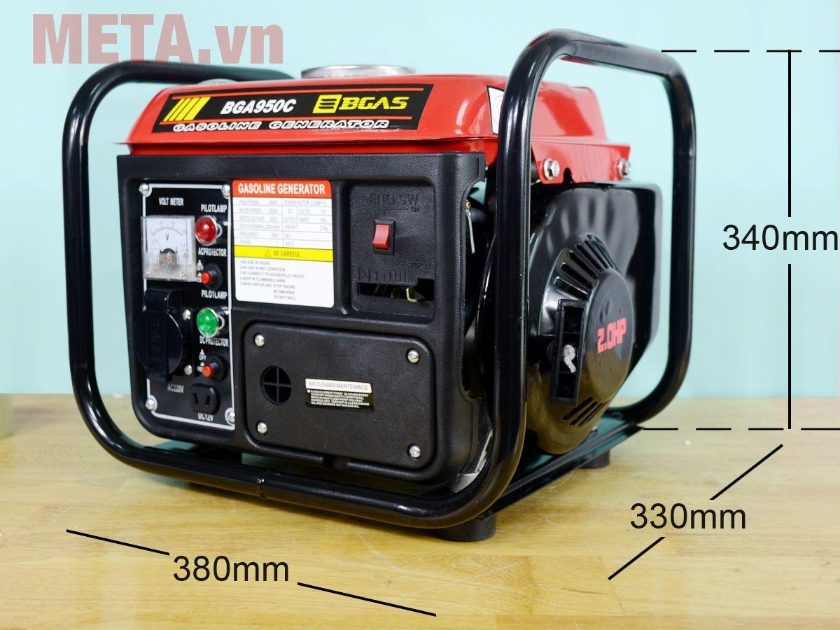 Kích thước máy phát điện chạy xăng Bgas BGA950C 0.8KVA