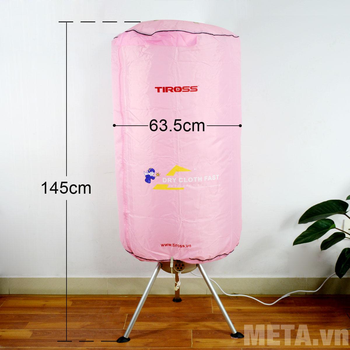 Kích thước máy sấy quần áo Tiross TS-881