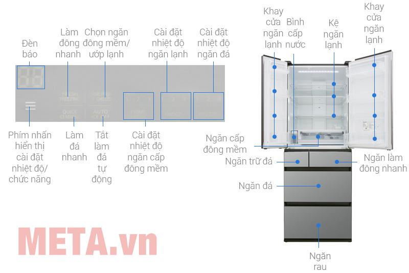 Cấu tạo tủ lạnh side by side