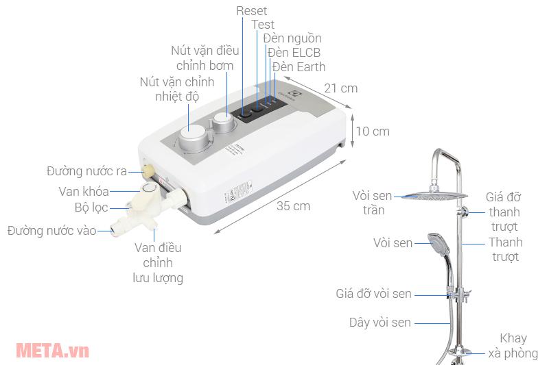 Cấu tạo Máy nước nóng trực tiếp