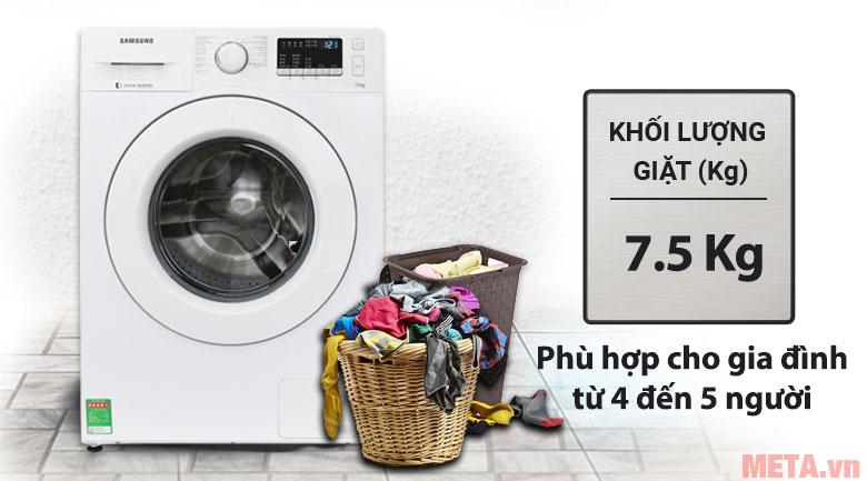 Khối lượng giặt 7,5kg phù hợp với gia đình 4 - 5 thành viên