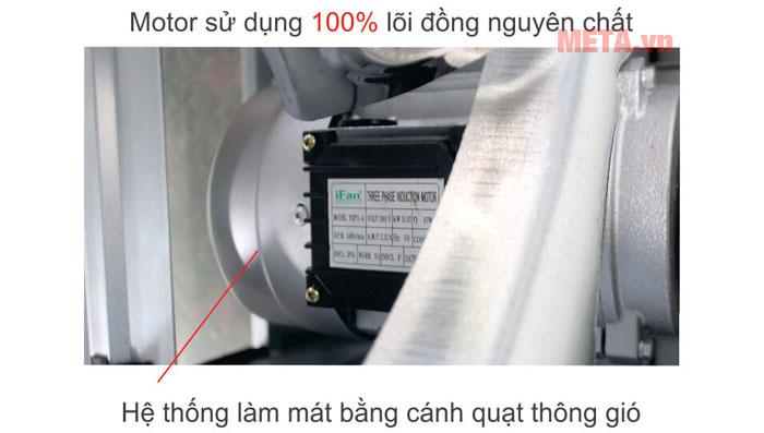 Mô tơ của quạt sử dụng 100% lõi đồng nguyên chất