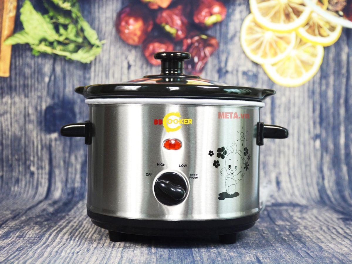Nồi nấu cháo đa năng Hàn Quốc BBcooker BS15 có quai nồi cách nhiệt.