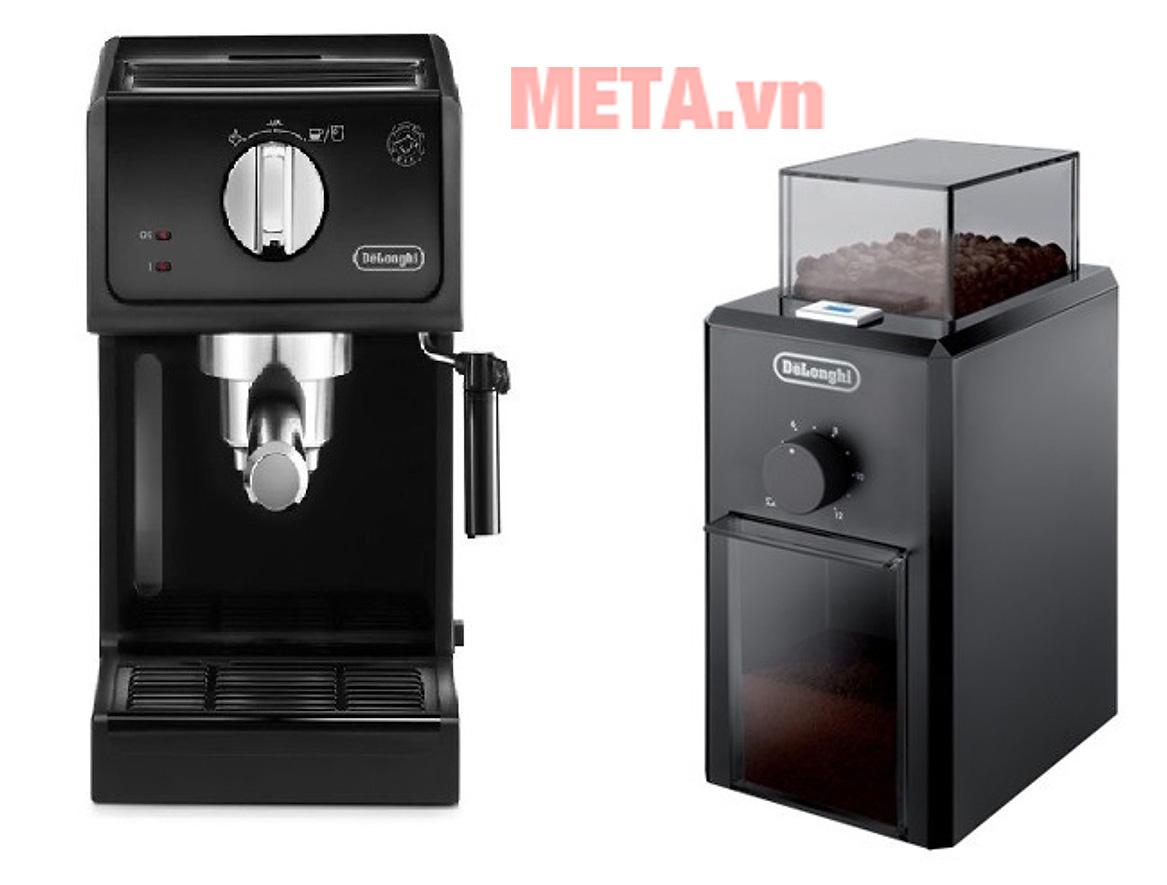 Combo máy pha cà phê và pha cà phê Delonghi