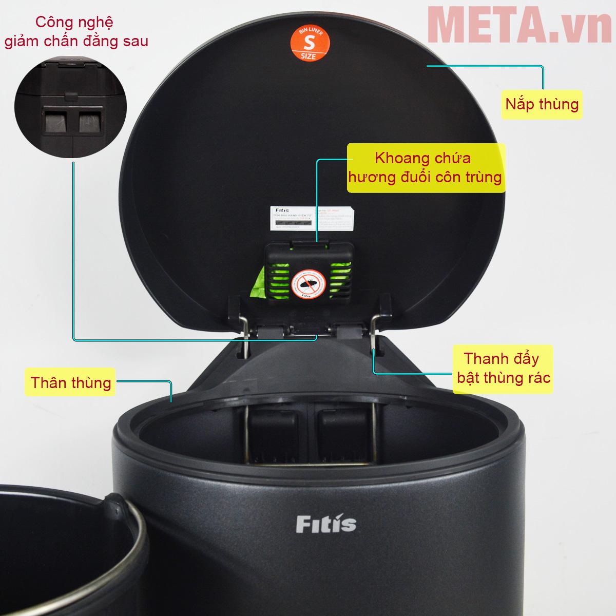 Thùng rác inox đạp tròn nhỏ Fitis RPS1-903 phủ sơn tĩnh điện chống gỉ ngoài vỏ
