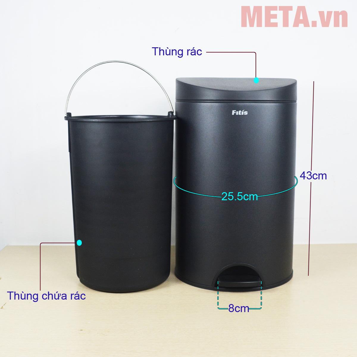 Thùng rác inox đạp tròn nhỏ Fitis RPS1-903 có vỏ ngoài inox