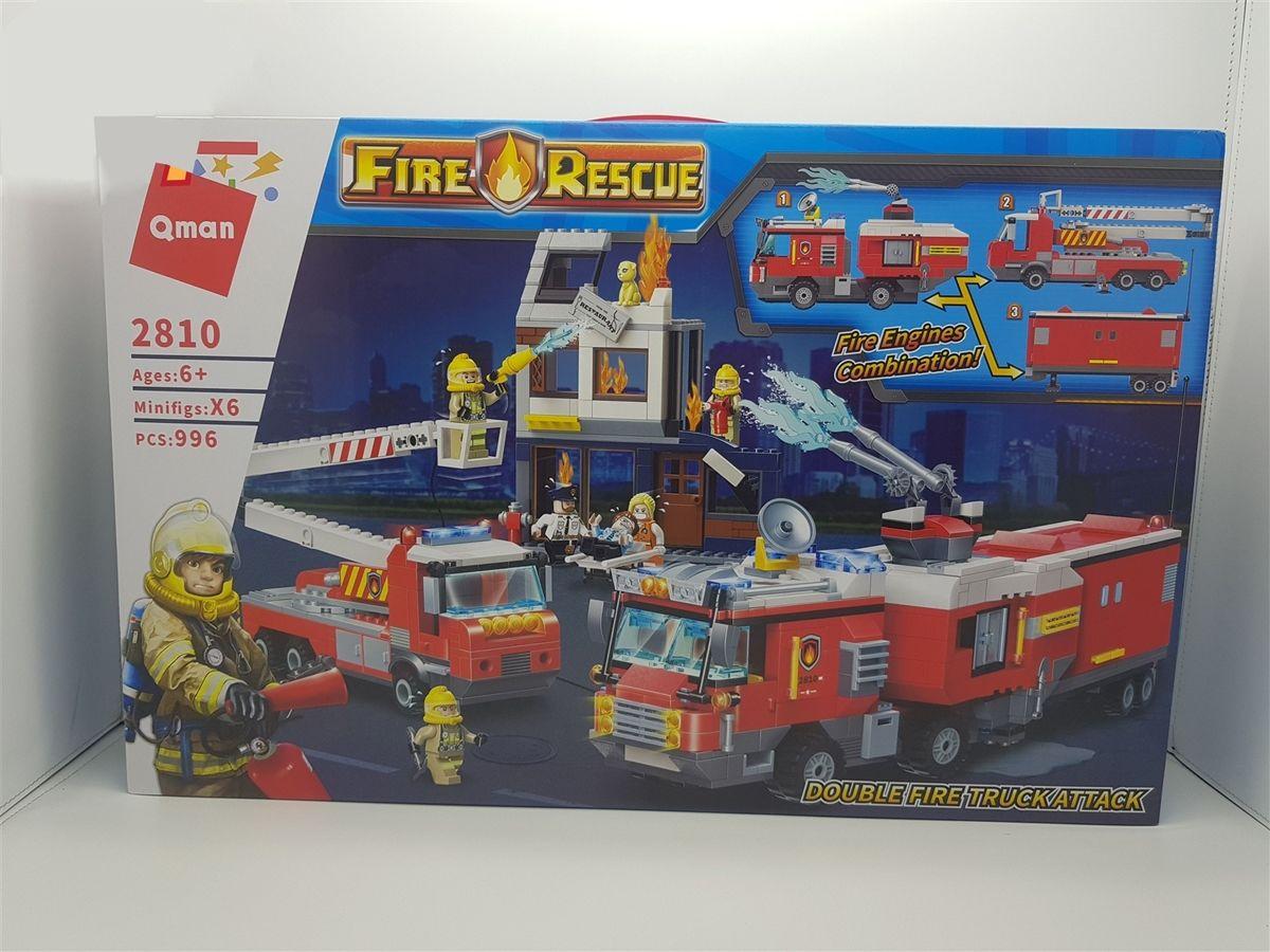 Đồ chơi lắp ghép Qman Double Fire Truck Attack - Biệt đội cứu hỏa FH2810