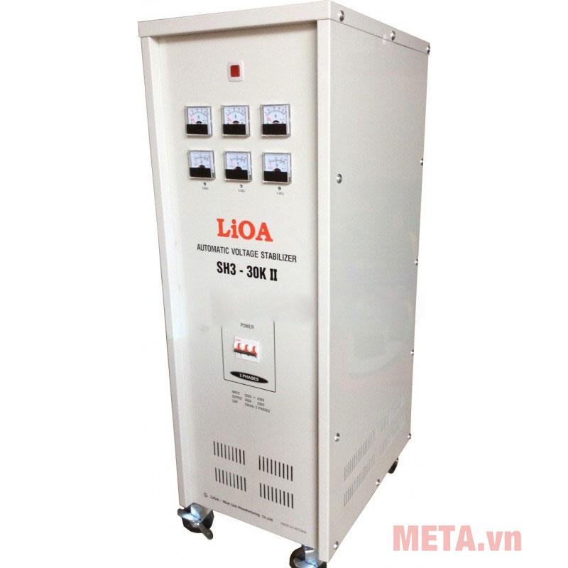 Ổn áp 3 pha Lioa 30KVA SH3 30K trang bị 4 bánh xe tiện lợi