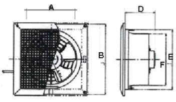 Kích thước lắp đặt quạt thông gió Lioa EVF24CU7