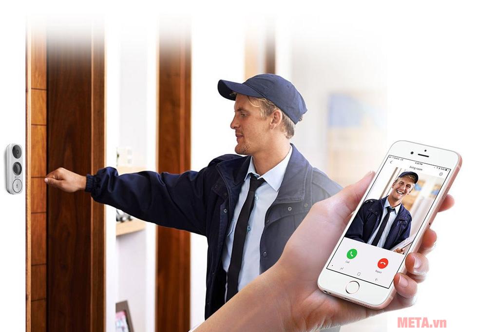 Camera chuông cửa Ezviz DB1 kết nối với điện thoại