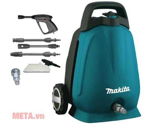 Máy xịt áp lực cao Makita HW102 bao gồm bịch đầu vòi; bình xà phòng; dây cao áp, 2 đầu phun, 1 đầu nối