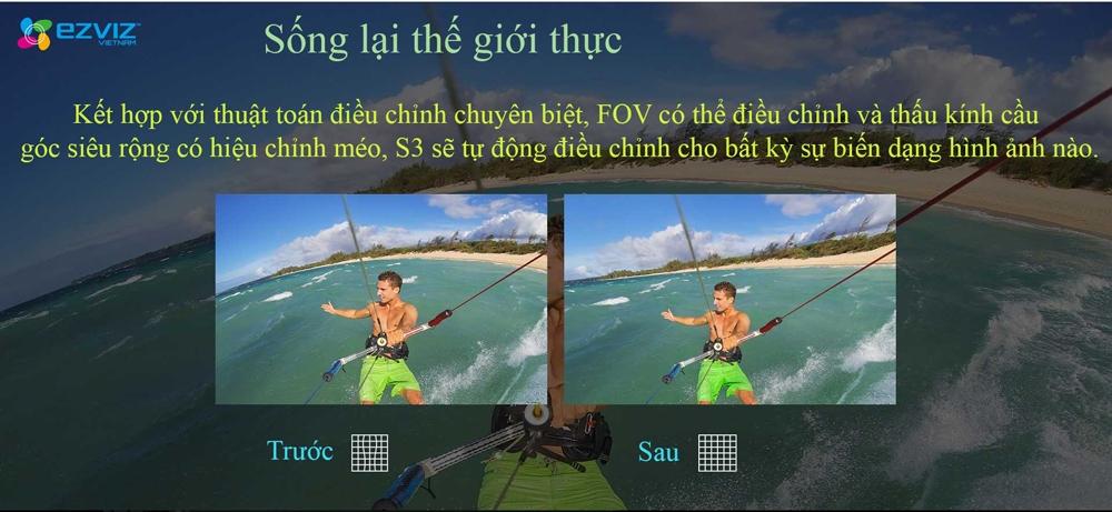 Camera hành trình 4K Ezviz S3 có chức năng chụp góc siêu rộng, điều chỉnh ảnh chống méo hình