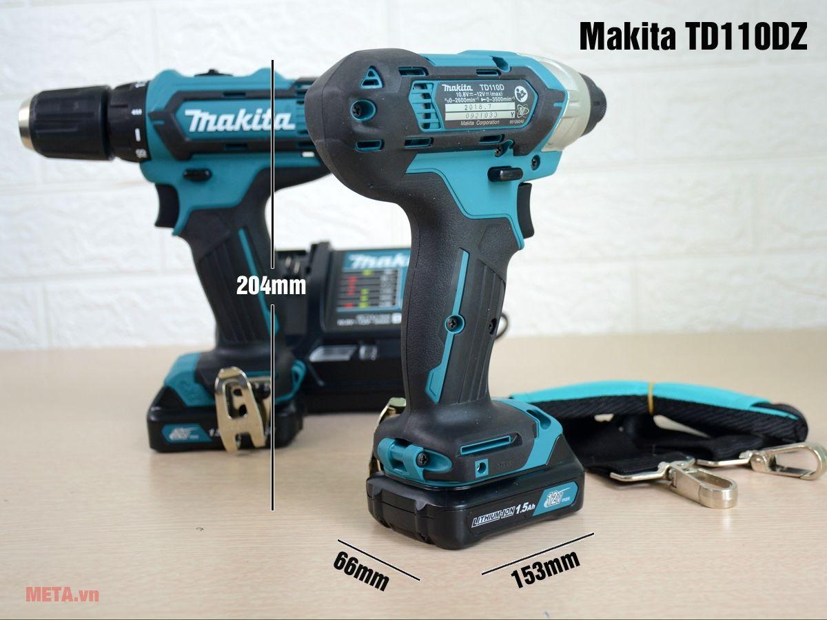 Kích thước máy vặn bu lông Makita TD110DZ