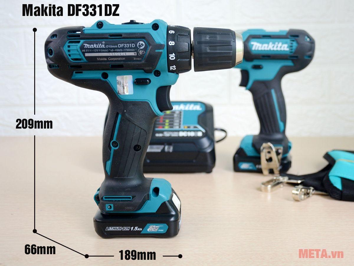Kích thước máy khoan pin Makita DF331DZ