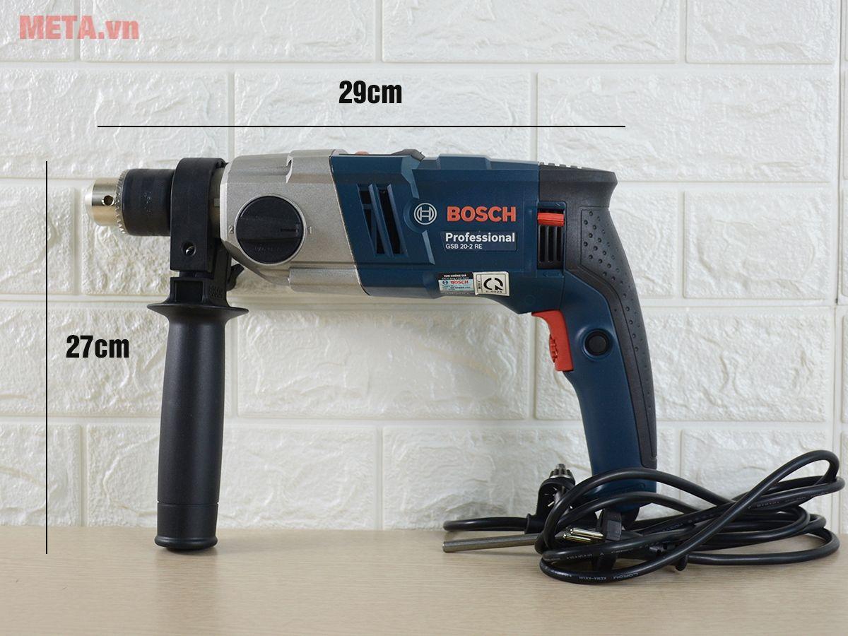 Máy khoan động lực Bosch GSB 20-2 RE có tay cầm bọc nhựa cho độ ma sát cao.